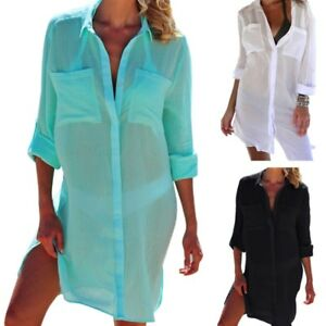 001717a174 Womens V-Neck Beach Dress Swimsuit Bikini Cover Up Robe Tunic Shirt ...