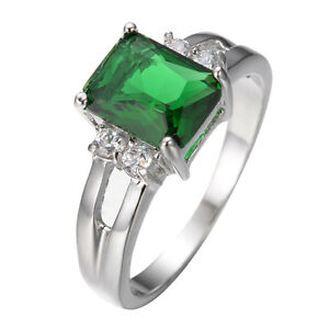 Green-Emerald-Zircon-Ring-White-Gold-Filled-Wedding-Band-Women-Jewelry-Size-5-10