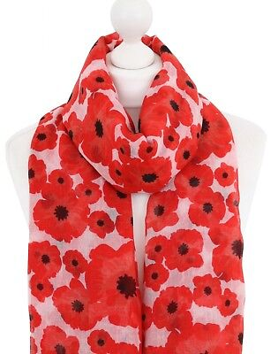 PEONY PURE SILK POPPY SCARF Cream Red Flowers Floral Poppies Scarves Mother Gift