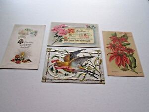 Lot-of-4-Asst-Vintage-Antique-New-Year-039-s-Postcards-2-Unposted-2-Posted-1900