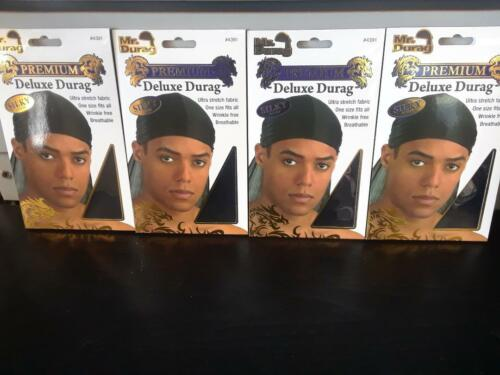 Set of 4 Black Smooth /& Thick Shiny /& Silky Deluxe Du Rag Durag annie