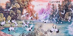 ORIENTAL-ASIAN-ART-CHINESE-FAMOUS-WATERCOLOR-PAINTING-Crane-birds-amp-Scenery-view