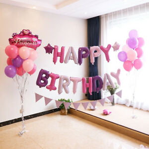 Pink Happy Birthday Letter Balloons.Details About Self Inflating 16 Inch Foil Letters Balloons Happy Birthday Ballons With Strings