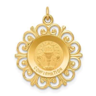 14k Gelbgold Konfirmation Medaille Anhänger Xr364