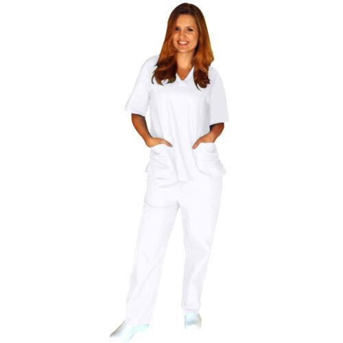 efd9a661dbf Unisex Medical Nursing Uniform 2 Pocket Clinic Hospital Scrubs Top Pants  Set S White for sale online   eBay