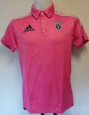 Stade Francais rosa S/S Polo Shirt da Adidas taglia 34/36 pollici sul petto nuova con etichetta