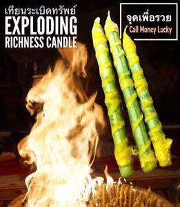 Talisman 3 Set Thai Magic Candle Arjarn O Amulet Wealthy Luck Money Fortune