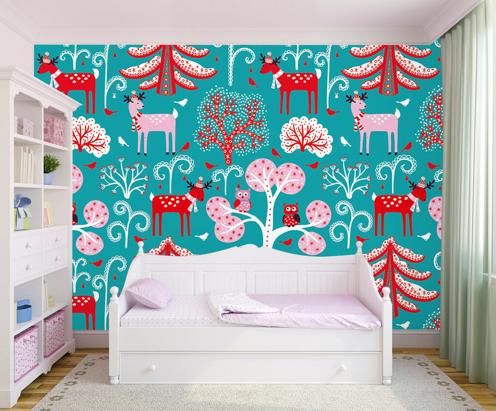 3D Farbeed Deer Tree 7 Wall Paper Murals Wall Print Wall Wallpaper Mural AU Kyra