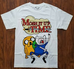 Adventure-Time-Mosh-It-Up-Time-White-T-Shirt-Short-Sleeves-Men-Small-Heavy-Metal