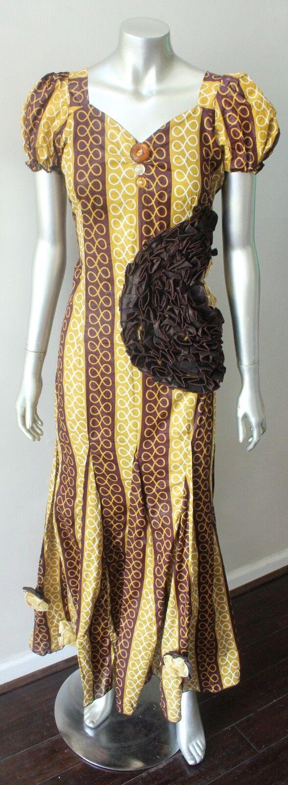 Ankara Wax Print Mermaid African Ruffled Maxi Ethnic Brown Traditional Dress S