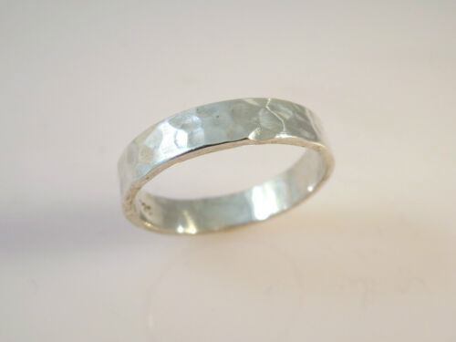 .925 Sterling Silver BASIC 5 mm HAMMERED BAND RING Size 5-12.25 NEW 925 16040