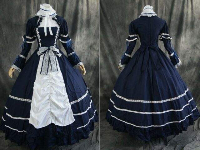 M-T101 blau blue Gothic Victorian Cosplay Kleid dress Kostüm costume n. Maß