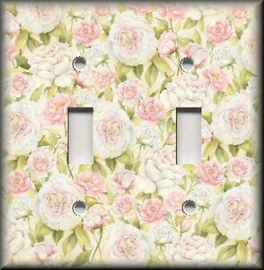 Light Switch Plate Cover Pink Green Bed Of Roses Shabby Chic Home Decor Ebay