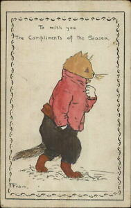 Louis-Wain-Unsigned-Dressed-Cat-Fantasy-Hand-Colored-c1905-Postcard