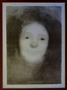 EUGENE-CARRIERE-Original-Lithographie-Imprime-1894-Elise-RIANT-portrait