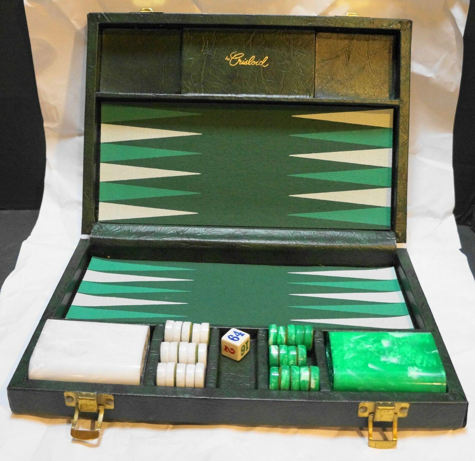 Crisloid verde bianca Marble Catalin Backgammon Set quasi completo