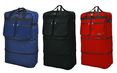 """36"""" Rolling Wheeled Duffle Bag Spinner Suitcase Expandable Duffel Luggage NEW"""