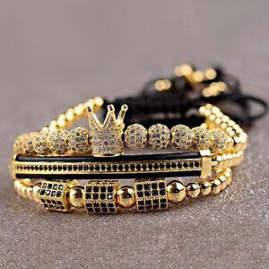 Details About Luxury Men S 18kt Gold Wred Royal Crown Bracelet Set 3pcs Adjule Uni