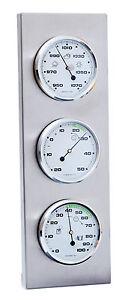 innen au en wetterstation analog thermometer hygrometer barometer edelstahl ebay. Black Bedroom Furniture Sets. Home Design Ideas