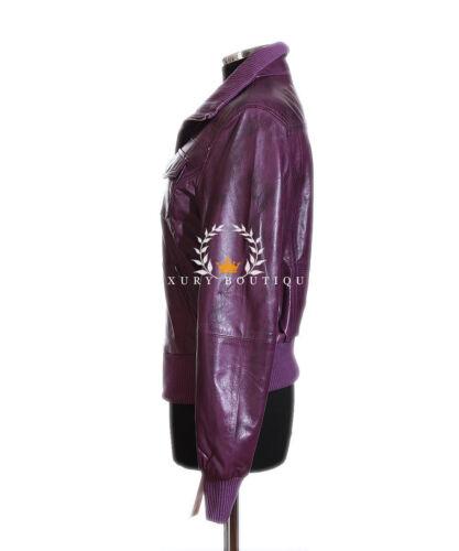 Designer pelle agnello Ladies di in Giacca vera balsa Smart cerata di Purple Brooklyn wqP0xgat5