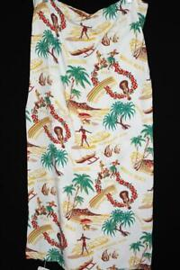 """EXCEPTIONAL RARE VINTAGE 1940'S DEADSTOCK  RAYON HAWAIIAN FABRIC 71"""" L X 38"""" W"""