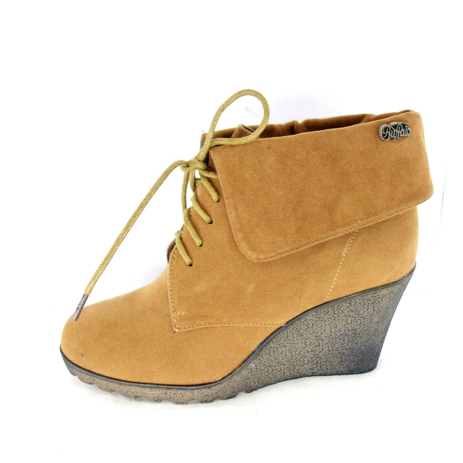 Buffalo Women's Wedge Ankle Boots Size 36 39 41 Suede shoes Brown Np 49 New