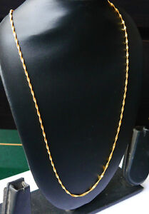 Gold-Plated-LONG-CHAIN-Necklace-Curb-Link-twist-disco-slim-Jewelry-U13