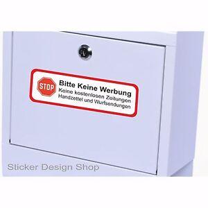 Bitte keine Werbung Schild Briefkasten Aufkleber Vinyl Stickers 15 x 5 cm