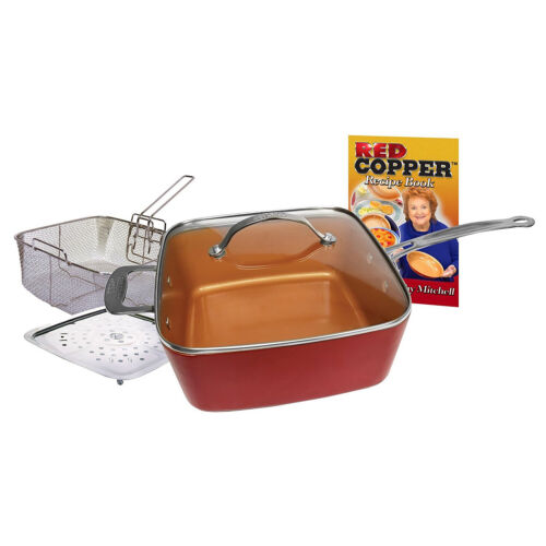 As Seen On TV Red Copper Non Stick 5 Piece 10/'/' square Copper Pan Set