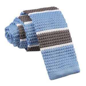 Light-Blue-Grey-White-Mens-Skinny-Tie-Knitted-Thin-Stripe-Casual-Necktie-by-DQT