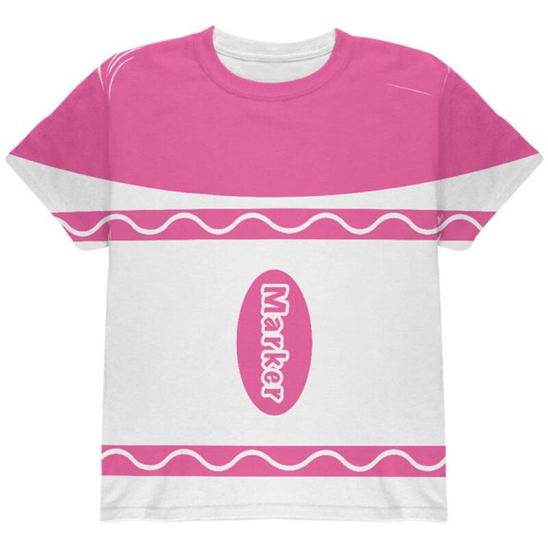 Halloween Marker Costume Pink All Over Youth T Shirt