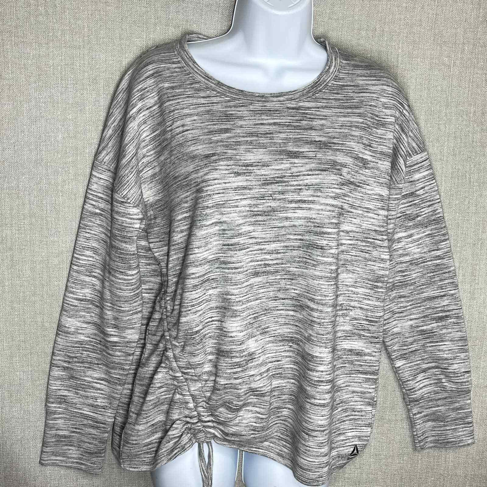 REEBOK Women Size S Fleece Side Cinch Crew Sweatshirt Gray