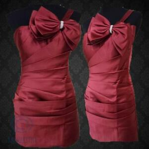 Red-One-Shoulder-Diamante-Bow-Party-Dress-Pleated-Mini-Prom-Ball-Formal-Gown