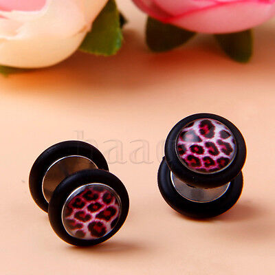 Flat Stainless Steel Earrings Ear Men's Stud Fake Plug Barbell Cheater MA