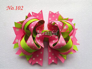 "10 BLESSING Girl Boutique 5.5/"" Butterfly Hair Bow Clip Accessories"