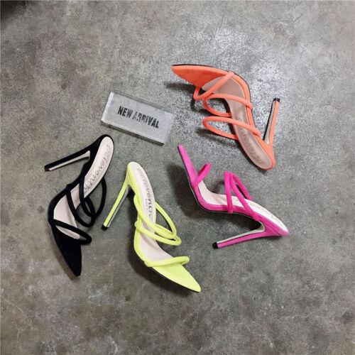 Ladies Peep Toe Strappy Stiletto Mules Women High Heels Sandals Party Shoes Size