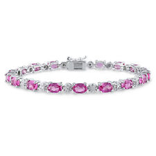 Amour Sterling Silver Lab-created Pink Sapphire and Diamond Bracelet