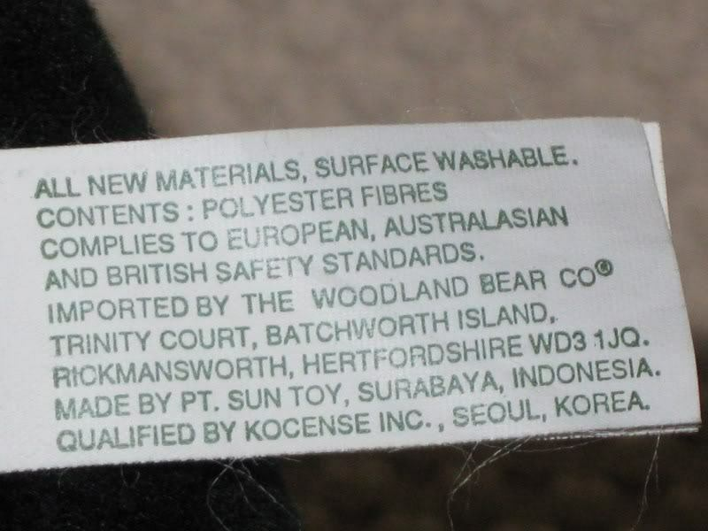 Woodland Bear Co UK UK UK 10 Inch schwarz Teddy Bear Bow & Tag 6a4239