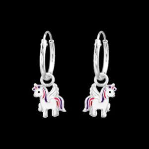 925-Sterling-Silver-Unicorn-Sleeper-Endless-Hoop-Earrings-12mm-Pink-Purple-Girl