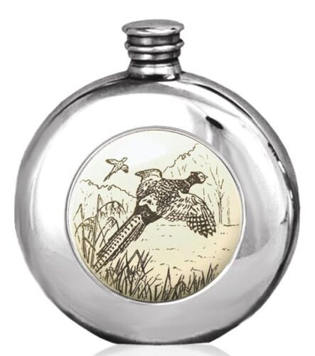 PHEASANT SCENE SCRIMSHAW HIP FLASK Hunting Shooting Country Sports Gift ENGRAVED