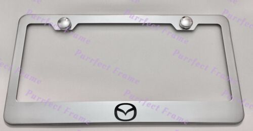Mazda Logo Stainless Steel License Plate Frame Rust Free W//Boltcap