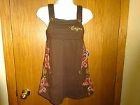 Women's Enyce Brown Embroidered Shirt Size Small W/ Shoulder Straps