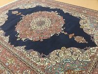 10'.5 X 13'.10 Navy Blue Rose Turkish Kayseri Oriental Rug Hand Knotted Wool