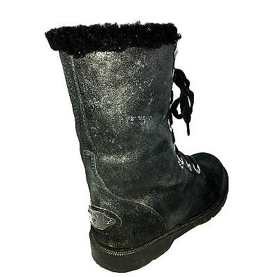 Bearpaw Women's Ankle-High Sheepskin Boot Black Size 8 Usa.