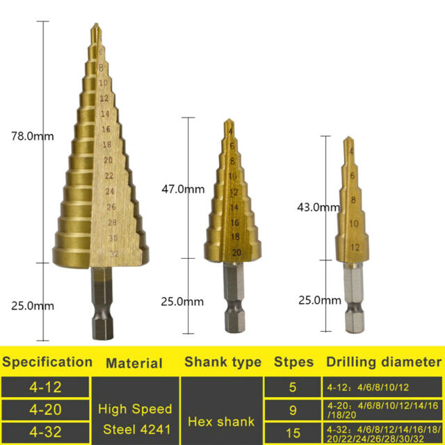 New Steel Step Shank Cone Titanium Coated Drill Bit Hole Cutter Saw Tool 5-35mm