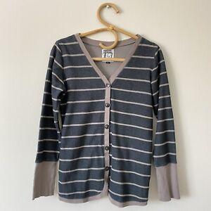 Small-Womans-BURTON-Gray-Striped-Cardigan-Top