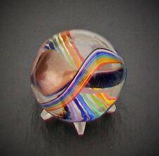 "WALD GLASS HANDMADE ART SWIRL MARBLE AVENTURINE LUTZ RIBBON  SIZE 1 1/8"" SIGNED"