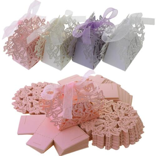 50X Wedding Favor Butterfly Laser Cut Chocolate Box Gift Candy Box Shower Party