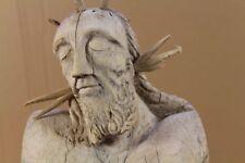 Gothische Jesus Figur - mit Dornen Krone - wohl 14./15. Jhdt. - ca. 80 cm.  /O