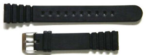 18mm BLACK RUBBER DIVERS WATCH BAND / STRAP NEW - GS18
